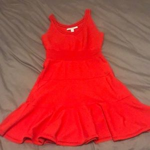 Orange/red DVF stretchy fit and flare dress
